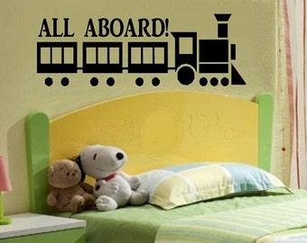 vinyl wall decal quote All aboard with train