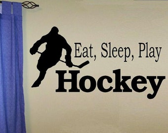wall decal kids Eat sleep play Hockey decal kids decor nursery decal sport decal boy decal home decor decal for men wall decal living room