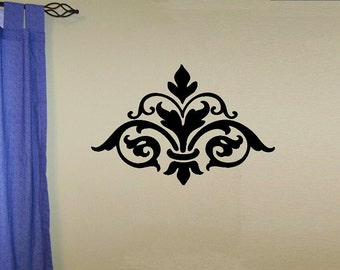 Damask design 3 flourish vintage style wallpaper wall decal bedroom decal living room decal wall decor vinyl lettering home decor wall decal