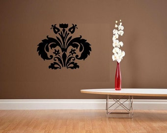 vinyl wall decal Damask design 4 flourish wallpaper