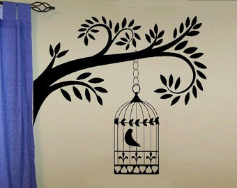 vinyl wall decal tree branch with hanging birdcage