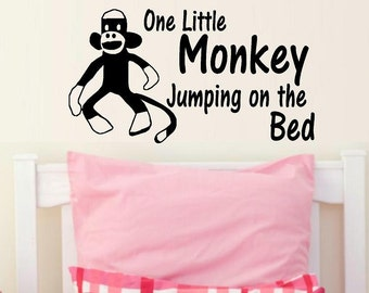 wall decals nursery One little monkey jumping on the bed sock monkey wall decal kids nursery decor kids decor vinyl decal wall quote home