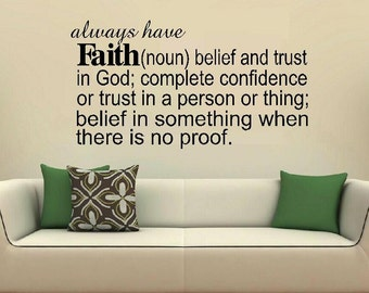 Faith definition wall decal quote