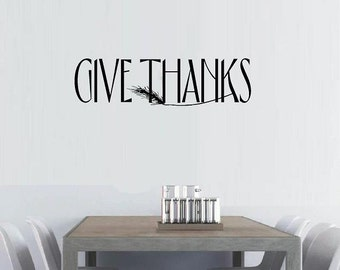 vinyl wall decal quote Give thanks slim with wheat