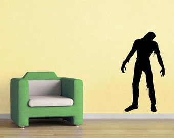 Zombie silhouette walking dead D1 wall decal man cave living dead undead decal men decal living room horror decor home decor haloween decor