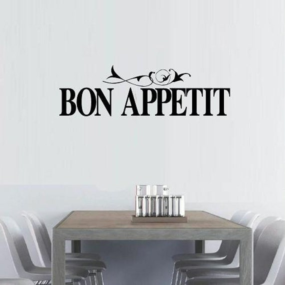 vinyl wall decal quote Bon Appetit with flourish kitchen dining