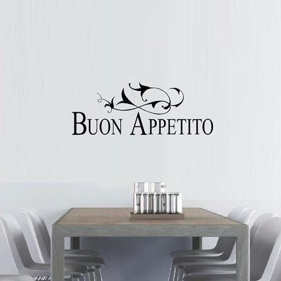 vinyl wall decal quote Buon Appetito with flourish kitchen dining