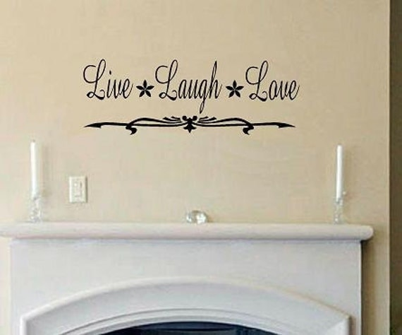 Live Laugh Love With Flourish Detail Wall Decal Quote Decal - Wall decals live laugh love