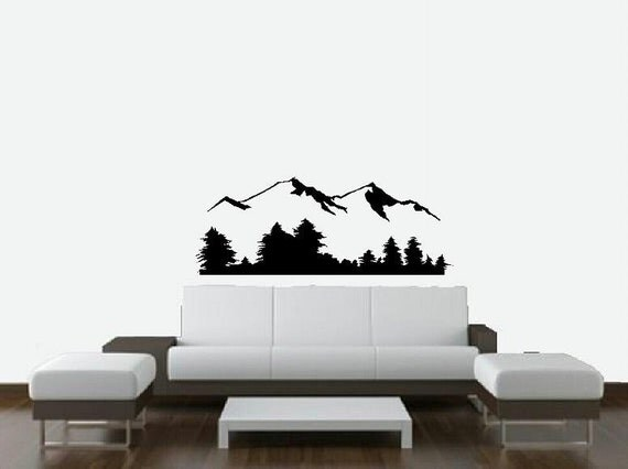 Mountain Scene Wall Decal Nature Scenery Bedroom Decal Living
