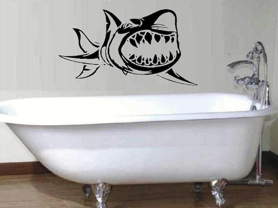 Shark wall decal beach decal home decor living room decal bathroom decal summer decor ocean sea life decor shark decal nautical summer decal