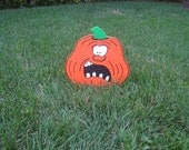 Crooked-Tooth Wood Pumpkin Halloween Lawn Ornament - 12 inch