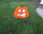 Angry Gritted Teeth Wood Halloween Pumpkin Lawn Ornament - 12in