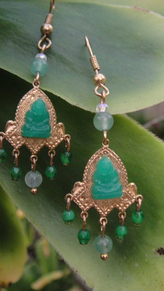 """Cute Green Jade and Swarovski Crystal """"Buddha"""" Earrings with 14K Gold Filled Backings"""