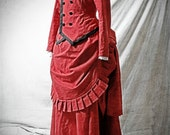 1880 Red Bustle Dress, complete outfit