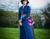 Bustle Dress 1880's Deep Blue and Hot Pink - Steampunk