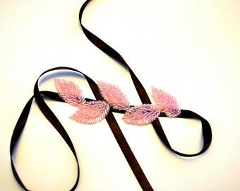 Chocolate Brown and Pink Beaded Ribbon Headband