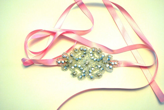 Pink Rhinestone Ribbon Headband