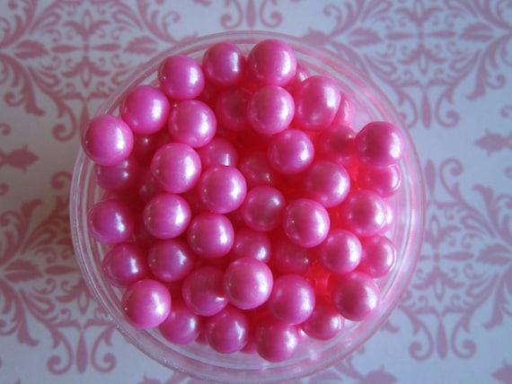 Pink Candy Bead Sugar Pearl Cake Cupcake Decorations