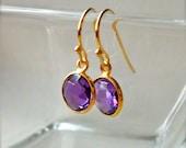 Amethyst Earrings, Gold Earrings - Natural Gemstones Bezel Set in Gold Vermeil - February Birthstone, Bridesmaid Gift - Framed Stone Jewelry