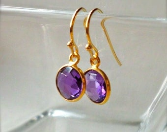 Amethyst Earrings, Gold Earrings - Natural Gemstones Bezel Set in Gold Vermeil - February Birthstone, Bridesmaid Gift - Framed Stone Jewelry