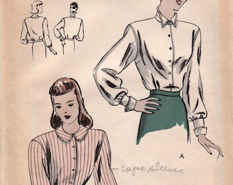 1940s Long Sleeved Blouse Pattern Vogue 5733 Size 12 Unused