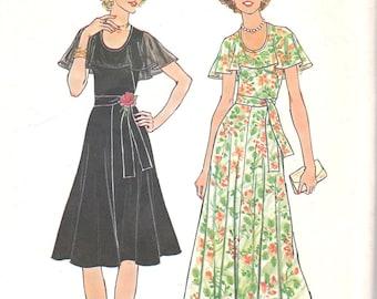 70s Summer Dress with Flutter Cape Collar Simplicity 7382 Size 10