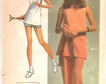 70s A-line Sleeveless Tunic & Pants or Shorts Pattern Simplicity 9417 Size 12