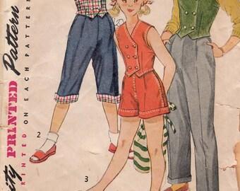 Girls' Slacks, Shorts, Pedal Pushers and Weskit Pattern Simplicity 4164 Size 7