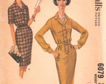 1960s Button Front Dress Pattern McCalls 6079 Size 14