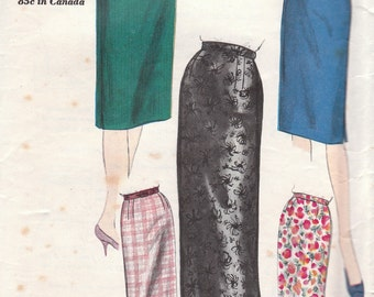 1960s Slim Skirt Pattern Vogue 5376 Waist 26