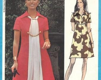 70s Bill Blass A-Line Dress Pattern Vogue Americana 2299 Size 12