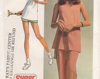 70s A-line Sleeveless Tunic & Pants or Shorts Pattern Simplicity 9417 Size 8 Uncut