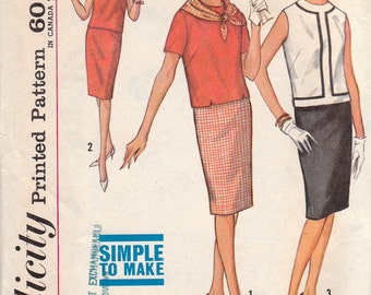 1960s Two Piece Dress Pattern Simplicity 4758 Size 12