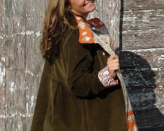 Maternity Swing Coat in Corduroy Wool or Tweed Optional Hood Fully Lined for Warm Winter Outerwear