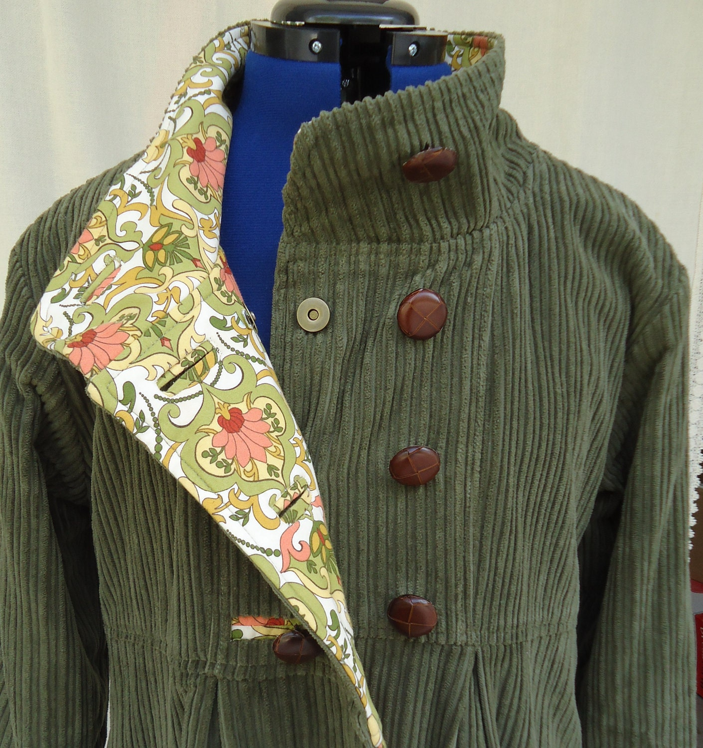 Womens Swing Coat in Corduroy Wool or Tweed Optional Hood