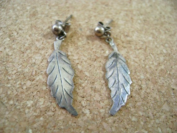 Antique 850 Silver Feather Earrings, southwest simple feather dangle earrings