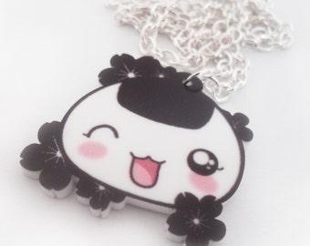 SALE - KAWAII ONIGIRI - Kawaii Onigiri Necklace Charm with Cherry Blossoms