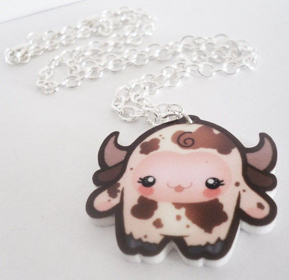 SALE - Lill Cowy - Tomo Acrylic Kawaii Cow-Suit Necklace Charm