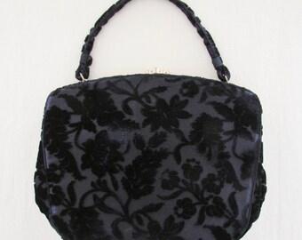 1950's black velvet handbag, dressy velvet purse with floral pattern