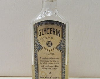Vintage glycerine bottle, 1930's collectible drugstore item