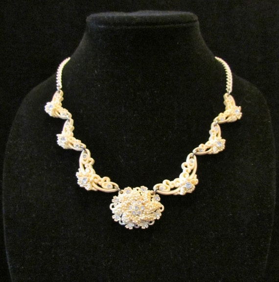 Vintage faux ivory necklace and earrings - celluloid, rhinestones and seed pearls, 1950's