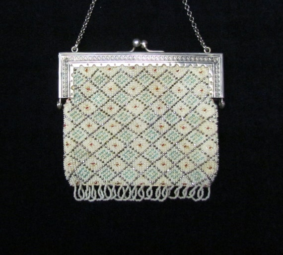 RESERVED FOR SHAE - Vintage beaded chatelaine purse - early 1900s purse with steel bead accents