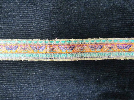 Vintage Chinese silk ribbon - brilliant colors, butterfly pattern, 1920's, RARE