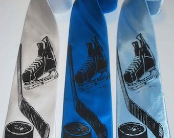 Hockey silkscreen neckties. Microfiber screen printed hockey tie black ink.