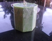 Pillar Candle, Shaped Candle,  Bamboo Hemp Hexagon Hand Poured Candle, Made to Order
