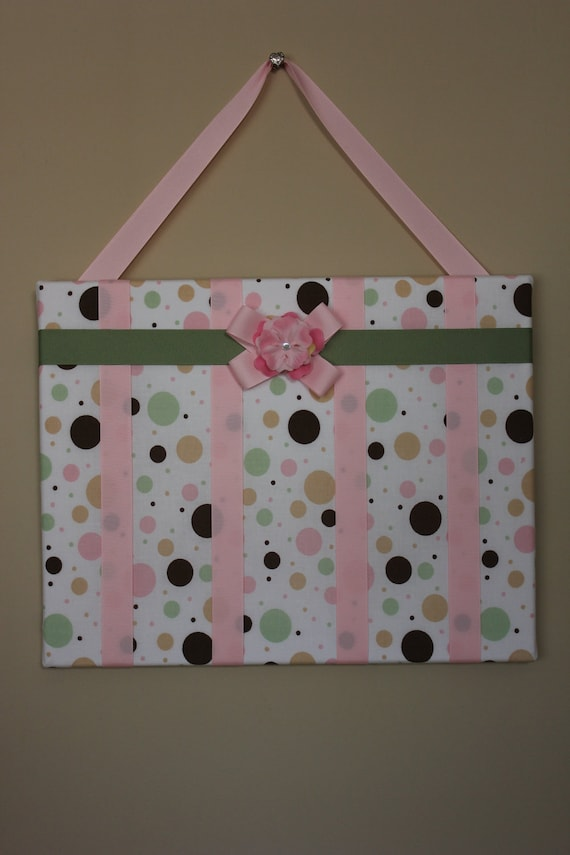 Polka Dot Green and Pink Hair Bow Organizer-Hair Accessories Organizer for Baby, Infant, Toddler, Child