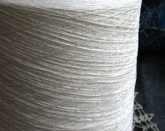 Organic Linen White Yarn Thread on cone 56 tex x 2 filament / 56 tex x 3 filament