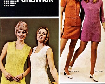 1960s Simple Dress, Tunic Tennis Dress or Blouse and Skirt - 3 Knit patterns PDF 3571