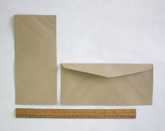 "Recycled Kraft Paper Envelopes, Triangle Flap Envelopes, Long Size 4.1x9.1"" in or 10.5x23 cm, for A4, A5 letter, eco-friendly - set of 25"