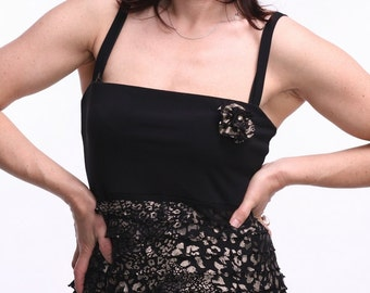 OOAK Tango Dress, Black Tango Dress, Tango Clothes, Tango Clothing with Straps